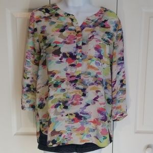 NYDJ Pleat back Watercolor Floral Print Pullover